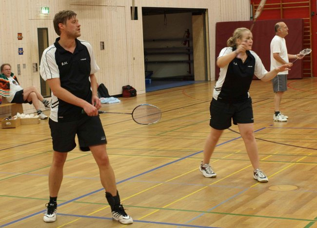 Badmintonspieler im Training